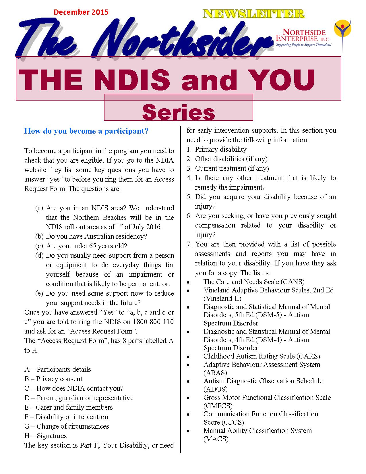 "December 2015 ""NDIS & You"" Series"